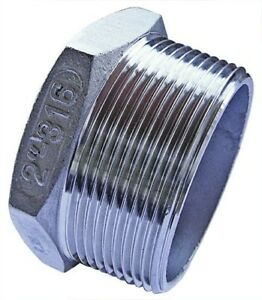 """SSPBT08 1/2"""" BSPT Male Hex Plug Stainless Steel Fitting"""