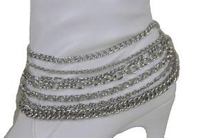 Fun Women Silver Metal Boot Chains Bracelet Shoe Multi Wave Charm Strand Jewelry