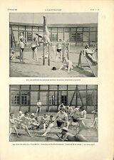 Bain de Soleil Masculin Berlin Kurfürstendamm Exercice de la Corde GRAVURE 1901