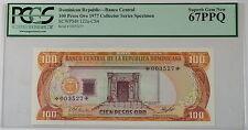 1977 Dominican Republic 100 Pesos Oro Specimen Note SCWPM# 122a-CS4 PCGS 67 PPQ