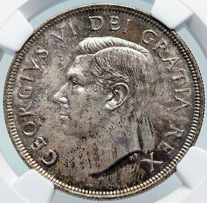 1949 CANADA UK King George VI SHIP Newfoundland Silver Dollar Coin NGC i85330