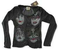 Kiss Trunk Ltd Heads Dark Grey Button Down L/S T Shirt Designer New NWT Band