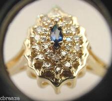 FINE BLUE NATURAL SAPPHIRE MARQUISE SHAPE & DIAMONDS 14K  GOLD RING