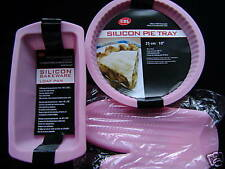 NEW SILICONE BAKING 3 MOULD SET LOAF PIE MITT PINK