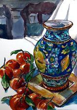 "Stordimento doranne Alden ORIGINALE ""maiolica VASO tangerini"" dipinto ad acquerello"