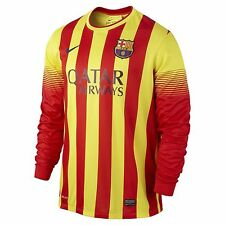 NIKE FC BARCELONA LONG SLEEVE ORANGE YELLOW JERSEY LA LIGA SPAIN MENS SZ XXL