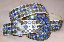 Western Gold White Cowhide Leatherock Belt Made with Sapphire Swarovski Crystals