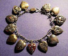 40's Vintage Sterling Silver Puffy Heart Charm Bracelet & Enamel, Repousse Gems