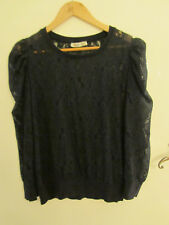 Primark Loose Baggy Fit Navy Blue Lacey 3/4 Sleeve Top in Size 10