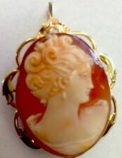 Antique  large, heavy  10K YELLOW GOLD CAMEO BROOCH/PIN/PENDANT PR.ST.Co