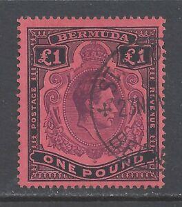 BERMUDA GVI 1943  £1 PALE PURPLE AND BLACK (C)  PERF 14 USED  SG 121b