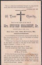 1885 Mrs. Stephen Broadbent Sr. Funeral Card Baltimore Evergreen House fame