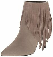 LFL LUST FOR LIFE SHRINE TAUPE GRAY FRINGE HIGH HEEL POINTED TOE ANKLE BOOT H89