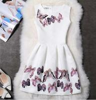Women Butterfly Printing Bodycon Sleeveless Evening Party Mini Cocktail Dress AU
