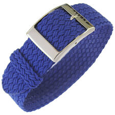 22mm Eulit PALMA Royal Blue One-Piece Woven Nylon Perlon German Watch Band Strap