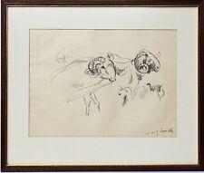Lovis Corinth Original Lithographie handsigniert Zwei Schafe 57,5 x 48 cm
