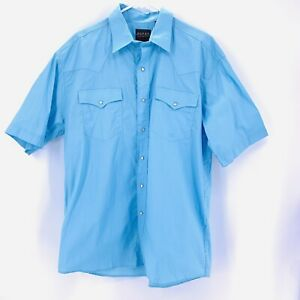 Roper NWT Western Mens Blue Pearl Snap S/S Button Up Shirt Sz L Large