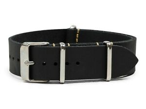 Black Oiled Leather One-Piece Watch Band - 18, 20, 22 or 24mm