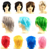 Cosplay Anime Short Wig Dark Brown Linen Blonde Straight Unisex Full Wigs