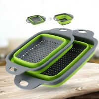 2pcs/set Silicone Colander Collapsible Washing Basket Draining Strainer Basket
