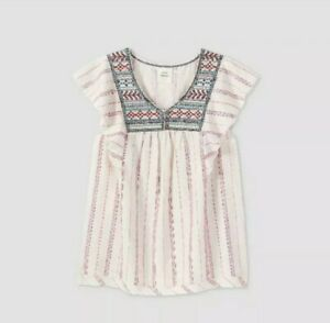 Knox Rose Women's Embroidered Boho Short Flutter Sleeve Top Size XXL White