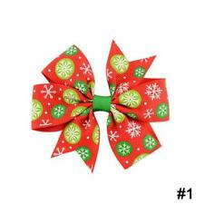 12 PCS Christmas Bow Hair Clip Alligator Clips Girls Ribbon Kids Accessories Re