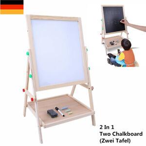 2 In 1 Beidseitig Tafel Whiteboard mit Holzständer für Kinder Kinderschüler Neu