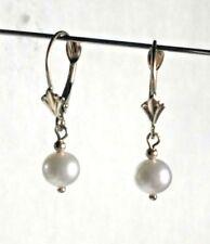 14 kt Gold Leverback Earrings Pearl Drop Earrings w/ 14kt Gold Beads !