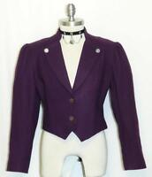 PURPLE LAVENDER ~ WOOL Women Austria SHORT Fitted Dress Suit Coat JACKET 38 8 S