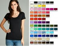 Women Basic SHORT SLEEVE SCOOP NECK T-Shirt Cotton Stretch Long Top  REG N PLUS
