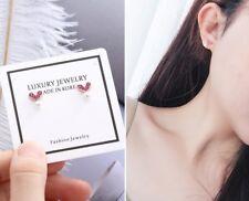 Rose Gold Sterling Silver CZ Pearl Heart V Stud Earrings Made in Korea Gift PE17