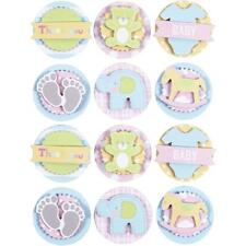 3D Baby Self Adhesive Paper Pastels Round Stickers With Cut Out Motif Card Craft