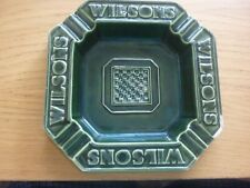 """Wilsons Brewery"" Manchester.Large Green Ashtray. Checkerboard Design.HCW"