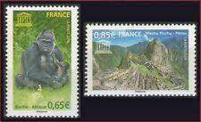 2008 FRANCE Service N°140/141** UNESCO Singe (Monkey), Cité Inca France 2008 MNH