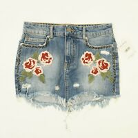 Free People Womens 25 Jeans Skirt Flower Embroidered Denim Frayed Mini $88
