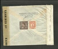 IRAQ TO USA AIR MAIL TAXED COVER 1944 W/DOUBLE CENSORE, VF
