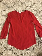 Joie Red Silk Blouse Xsmall Xs