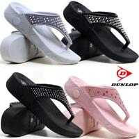 Ladies Low Wedge Heel Comfort Walking Fit Flip Flops Fitness Toning Sandals Shoe