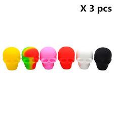 3 X Skull Screw Top 3ML Non-stick Silicone Dab Container Wax Jar, Color Random