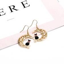 Red Bowknot Cat Hollow Moon Earrings Girls Fashion Earrings Jewelry