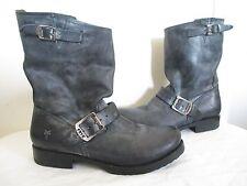$328 FRYE Women's VERONICA SHORT Black Leather Buckle Boots SZ 8B 76514