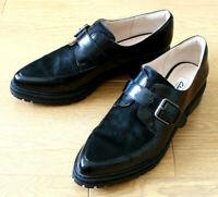 Clarks Narrative Ladies Black Patent & Real Fur Brogue Buckle Shoes UK 7D EU 41