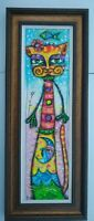 Signed Original Framed Abstract Painting Cat Modern on Canvas Carlos Cesar Roman