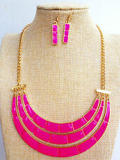 Fashion Gold Plated Neon Pink Bamboo Enamel Necklace Bib Bubble Earrings Set