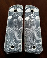 1911 custom engraved ivory scrimshaw grips Grim Reaper and Sexy Lady