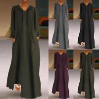 Women Long Sleeve Hoodies Long Maxi Sweatshirt Shirt Dress Full Length Dress US