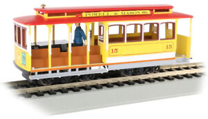 Bachmann 60538 HO Scale Yellow & Red Cable Car With Grip Man Powell & Mason Sts.