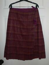 Anna Sui Purple Plaid Wool Wrap Skirt $266 NWT 10