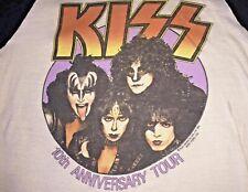 RARE KISS 10th Anniversary Vintage Concert T-Shirt  3/4 sleeves Shirt
