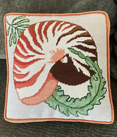 "Vintage NEEDLEPOINT Pillow NAUTILUS TIGER SHELL. 11"" Square. Welted RUST Velvet"